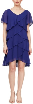 Slny Short Sleeve Tiered Chiffon Dress