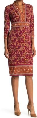 London Times Border Print 3/4 Sleeve Midi Sheath Dress