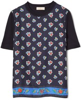 Tory Burch SILK-FRONT SHORT-SLEEVE SWEATER