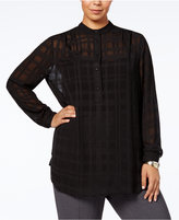 Anne Klein Plus Size Sheer Checked Shirt