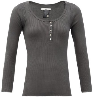 Etoile Isabel Marant Lamylic Ribbed Cotton-jersey Henley Top - Dark Grey