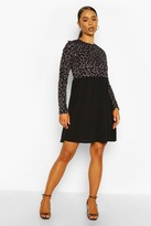 boohoo Long Sleeve Leopard Ribbed Smock Dress
