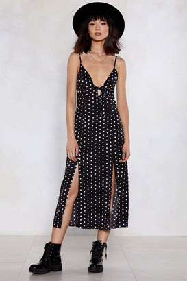 Nasty Gal Womens Slit Happens Polka Dot Dress - Black - 4, Black