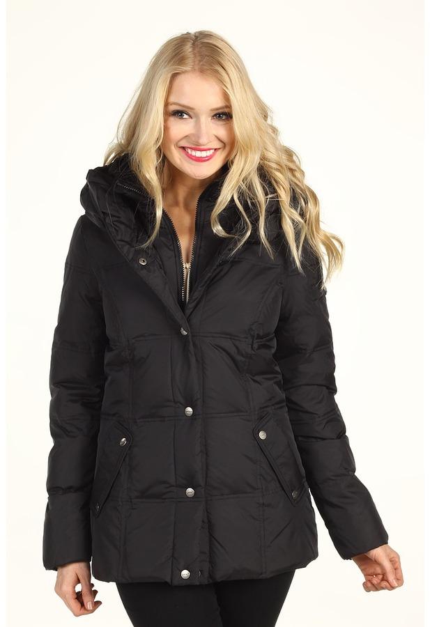 DKNY Short Pillow Collar Down Coat (Black) - Apparel