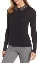 Halogen Petite Women's Embellished Collar Sweater