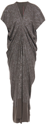Rick Owens Lilies Draped Metallic Printed Jersey Maxi Dress
