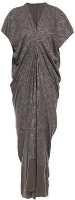 Rick Owens Lilies Draped Metallic Printed Jersey Midi Dress