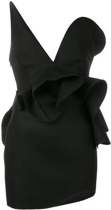 Saint Laurent Off-Shoulder Asymmetric Dress