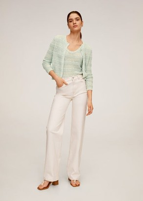 MANGO Openwork knit top aqua green - S - Women
