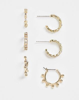 Pieces 3 pack hoops in gold