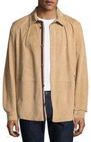 Salvatore Ferragamo Lamb Suede Shirt Jacket, Tan