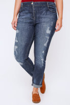 Yours Clothing Indigo Distressed Ripped Boyfriend Jeans