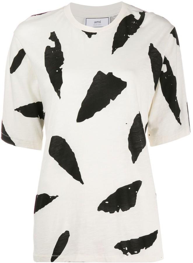 AMI Paris Feather Print T-shirt