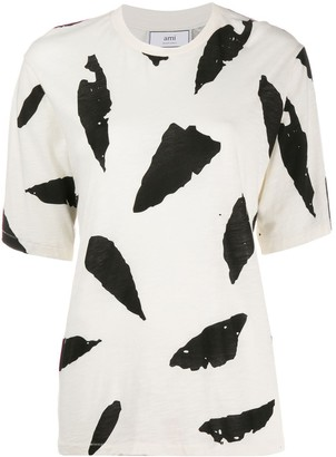 AMI Paris Feather Print T-shirt