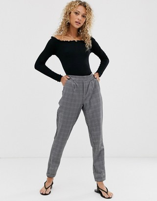 JDY grey check trouser with elasticated waist