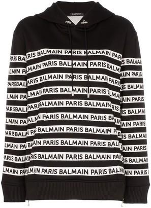 Balmain Logo Print Tape Cotton Hoodie