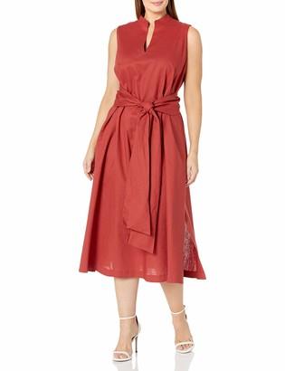 Anne Klein Women's Linen MIDI Dress