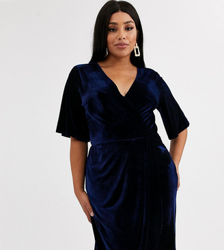 TFNC Plus velvet wrap front kimono midi dress in midnight