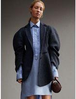 Burberry Voluminous-sleeve Herringbone Wool Coat