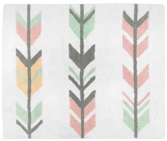 "JoJo Designs Sweet Coral & Mint Mod Arrow Floor Rug (36""x36"")"
