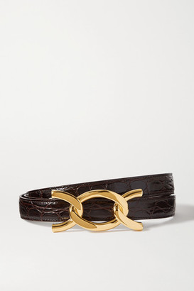 Saint Laurent Croc-effect Leather Belt - Dark brown