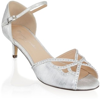 Linzi Paradox London Hisaki Silver Extra Wide Fit Mid Heel Ankle Strap Sandals
