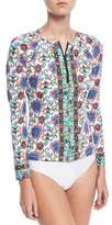 Nanette Lepore Rosarito Zip-Up Floral-Print Long-Sleeve Rashguard