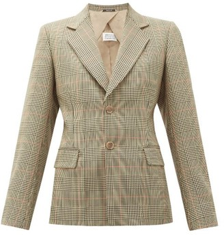 Maison Margiela Single-breasted Prince Of Wales-check Blazer - Womens - Green Multi