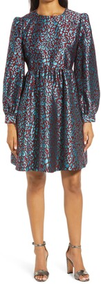 Halogen x Atlantic-Pacific Leopard Jacquard Long Sleeve Dress