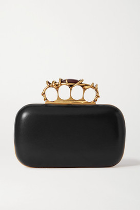 Alexander McQueen Four Ring Embellished Leather Clutch - Black