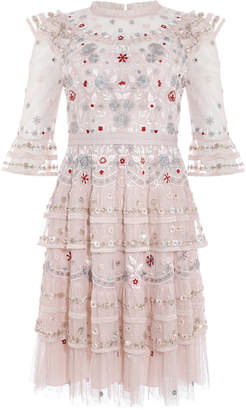 Needle & Thread Eden Ruffled Floral-Embroidered Tulle Mini Dress