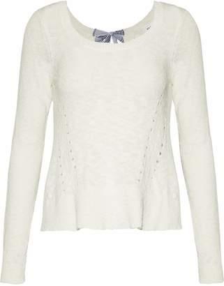 Derek Lam 10 Crosby Tie-back Pointelle-knit Cotton-blend Sweater