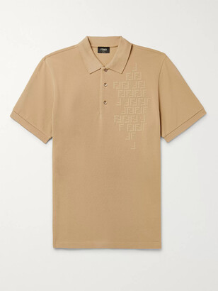 Fendi Slim-Fit Logo-Embossed Cotton-Pique Polo Shirt