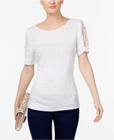 INC International Concepts Petite Lace-Sleeve Top, Only at Macy's