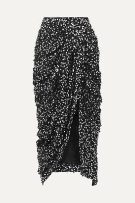 Isabel Marant Calliandra Draped Sequin-embellished Georgette Midi Skirt - Black