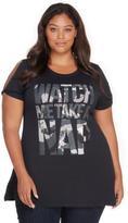 Addition Elle Rebel Wilson Watch Me Take A Nap Graphic Wing Split Shoulder T-Shirt