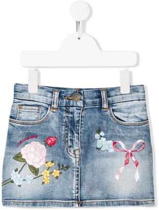 MonnaLisa Embroidered Denim Skirt