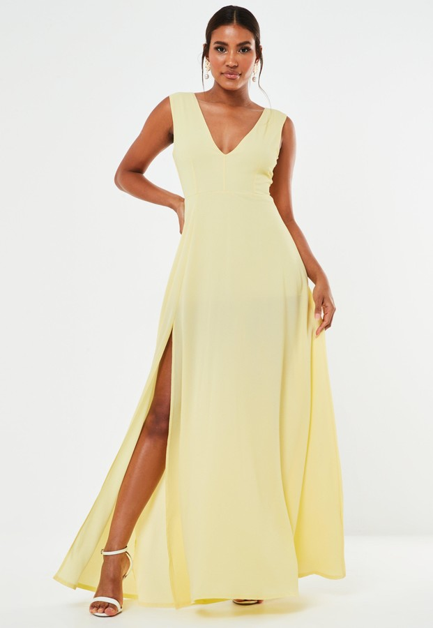 Missguided Yellow Crepe Plunge Maxi Bridesmaid Dress