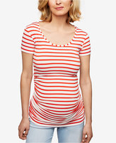 Isabella Oliver Maternity Ruched Striped T-Shirt
