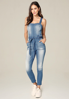 Bebe Denim Belted Jumpsuit