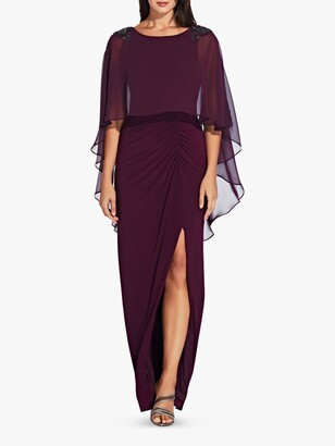 Adrianna Papell Chiffon Capelet Gown, Shiraz