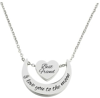 Love you to the moon heart pendant necklace by Pink Box BEST FRIEND