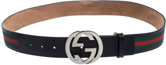 Gucci Black Web Fabric and Leather Interlocking GG Buckle Belt 90CM