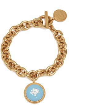 Mulberry Porcelain Tree Bracelet Gold and Blue Brass and Resin