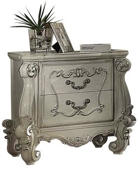 ColourTree Versailles 2 Drawer Nightstand Color: Bone White