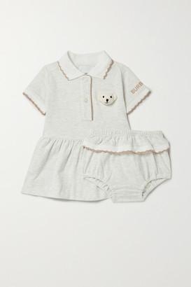 BURBERRY KIDS Months 1 - 18 Appliqued Melange Stretch-cotton Dress And Bloomers Set