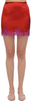 Fleur Du Mal James Silk Satin Skirt W/ Lace Trim