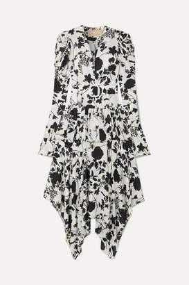 MATÉRIEL Tiered Belted Floral-print Chiffon Midi Dress - Black