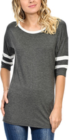 Magic Fit Charcoal & White Stripe-Sleeve Scoop Neck Tee