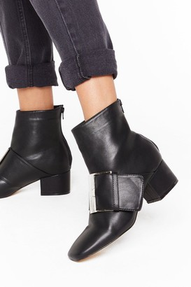 Nasty Gal Womens Good Buck-le Faux Leather Boots - Black - 3